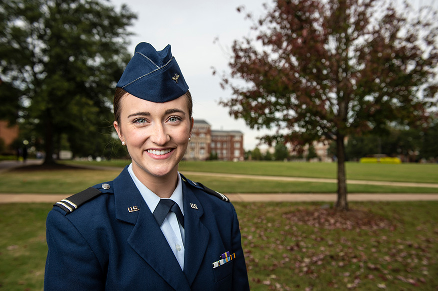 Shelby Patti, an MSU Air Force ROTC cadet and junior chemistry major, is one of only three recipients in the U.S. receiving an Armed Forces Communications and Electronics Association ROTC Medal of Honor Scholarship. (Photo by Logan Kirkland)