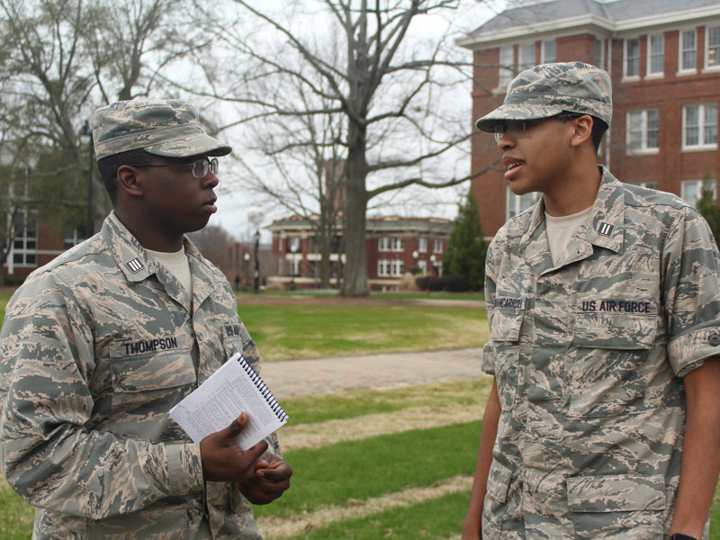 Cadet talking with his commanding officer