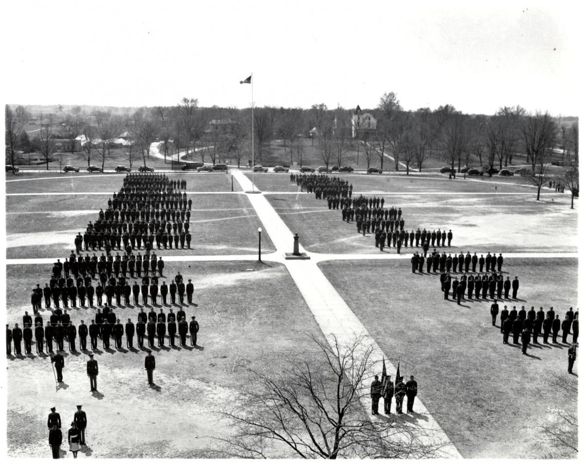 Cadets in formation on the Drill Field