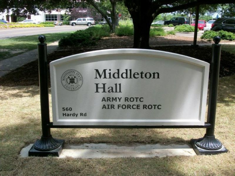 Middleton Hall sign in front of the building
